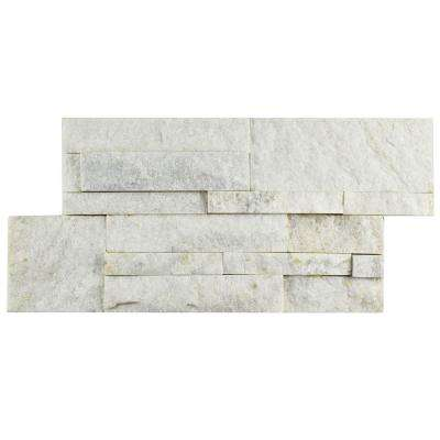 Ledger Panel White Quartzite 7 in. x 13-1/2 in. Natural Stone Wall Tile (6 cases / 31.5 sq. ft. / pallet)