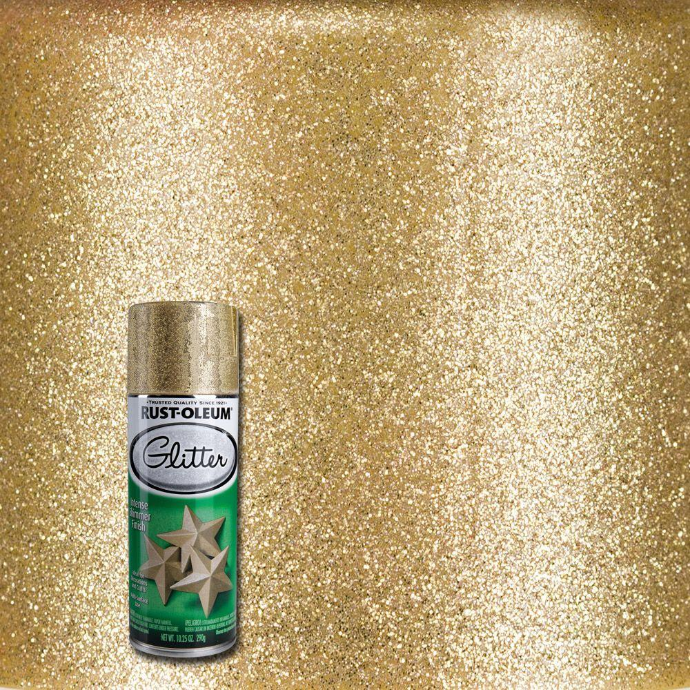 Rust oleum specialty oz gold glitter spray paint for Craft paint for metal