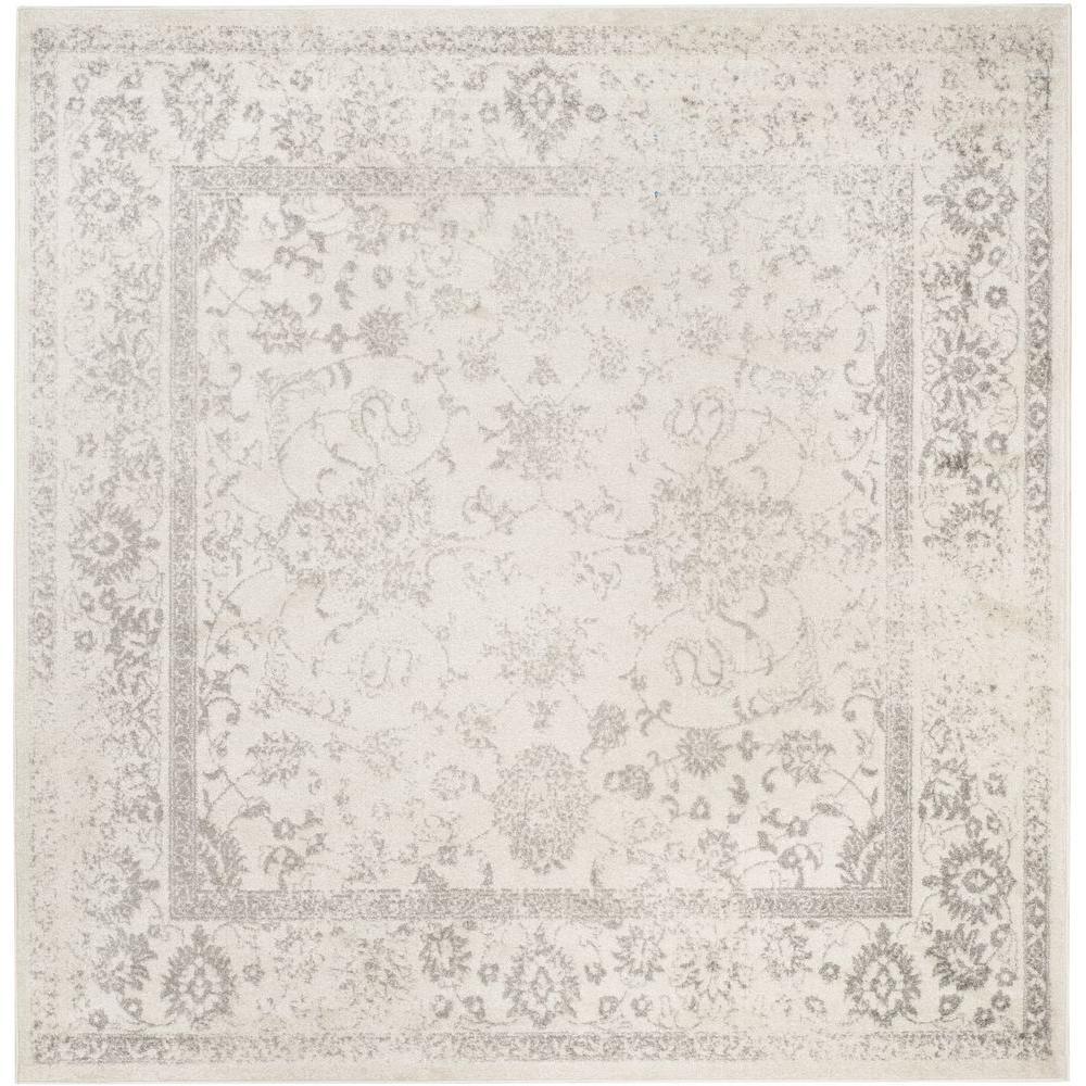 adirondack ivorysilver 10 ft x 10 ft square area rug - Square Area Rugs