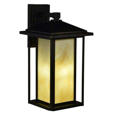 Motley 1-Light Black Gold Outdoor Wall Mount Sconce