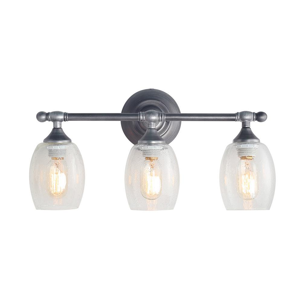 Hampton Bay 3-Light Brushed Nickel Vanity Light With Clear