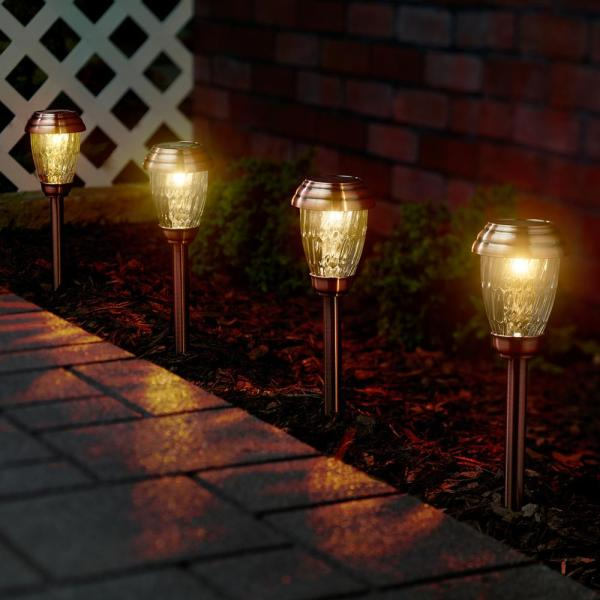 Smart Solar Charleston Solar Heritage Copper Outdoor Integrated Led Pathway Light 6 Pack 3426wrm6 Hc The Home Depot