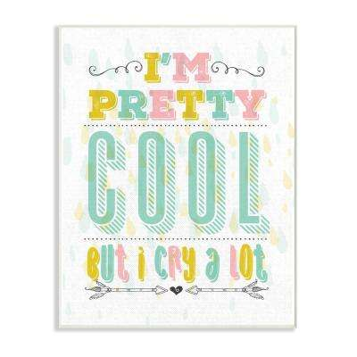 "12.5 in. x 18.5 in. ""I'm Pretty Cool but I Cry A lot Funny Nursery Pastel Typography"" by Tammy Apple Wood Wall Art"