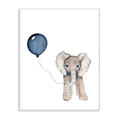 "10 in. x 15 in. ""Baby Elephant with Blue Balloon"" by Daphne Polselli Printed Wood Wall Art"