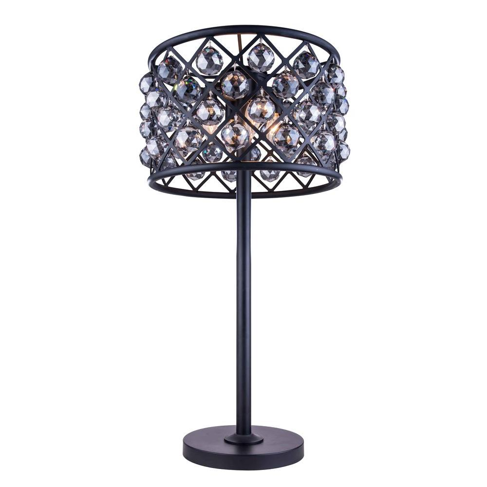 Mocha Brown Table Lamp With Silver Shade Grey Crystal 1206TL15MB SS/RC    The Home Depot