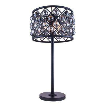 Madison 32 in. Mocha Brown Table Lamp with Silver Shade Grey Crystal
