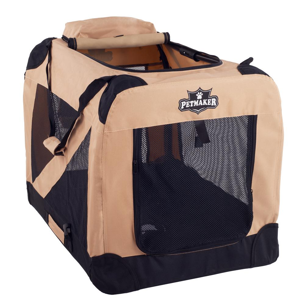 Khaki Portable Pet Crate with Soft Sides - Medium