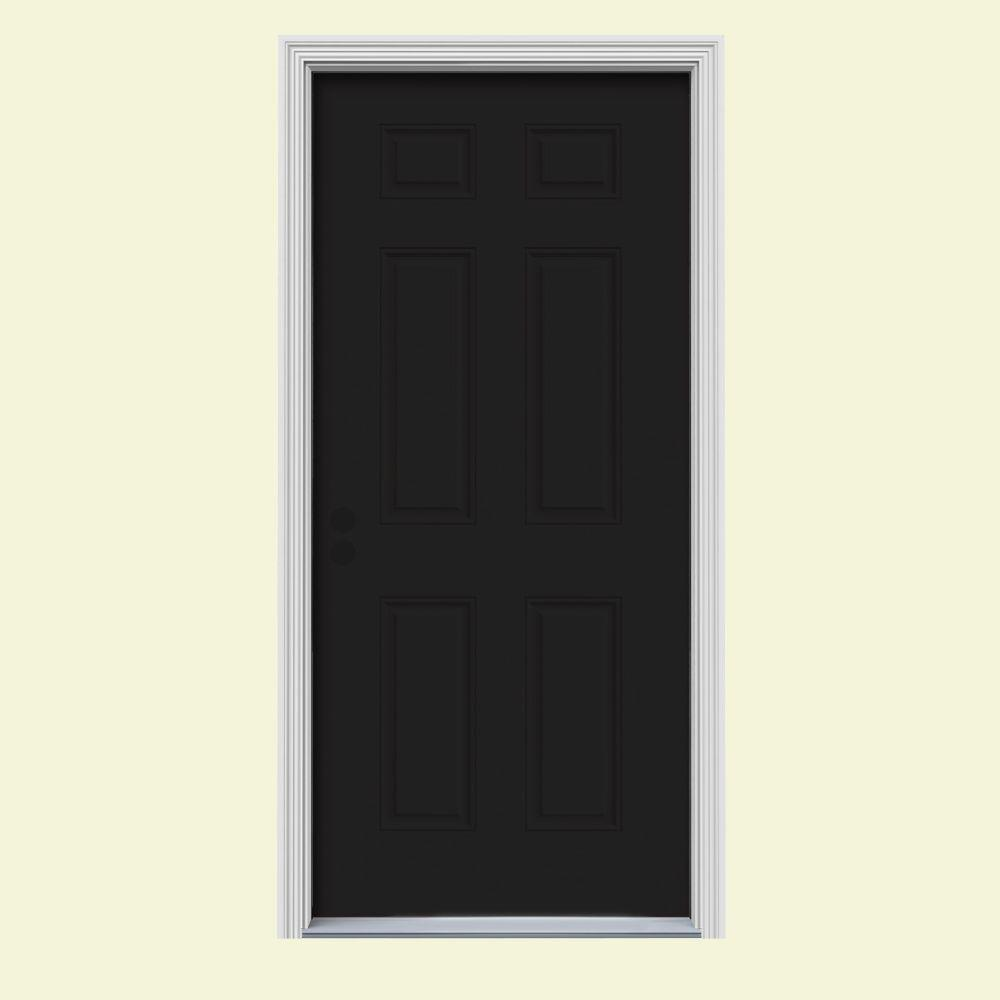 Jeld Wen 32 In X 80 In 6 Panel Black Painted W White Interior Steel Prehung Right Hand