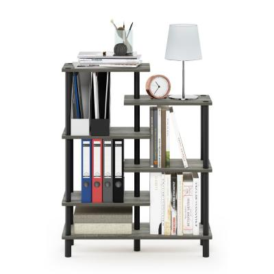 39.45 in. French Oak Gray/Black Plastic 6-shelf Etagere Bookcase with Open Back