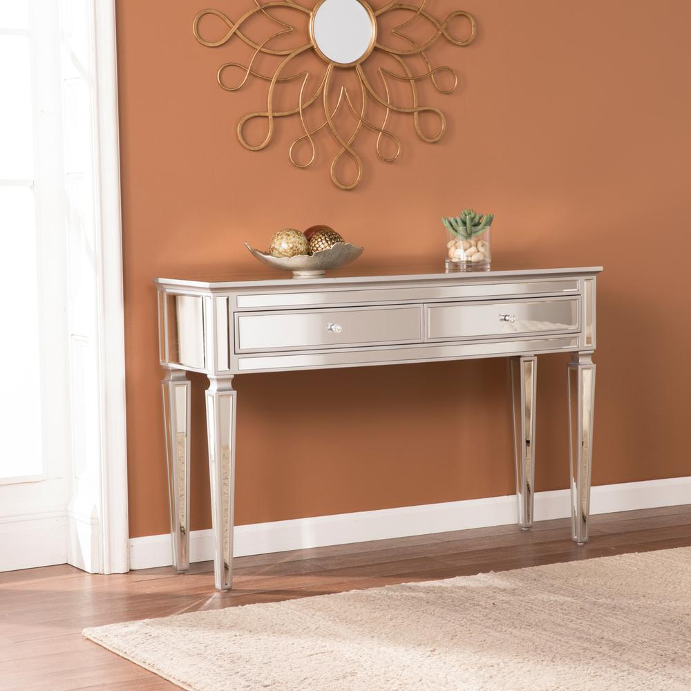 Southern Enterprises Chandler Silver Mirrored Console Table