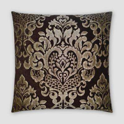 Elegance Brown Feather Down 20 in. x 20 in. Standard Decorative Throw Pillow