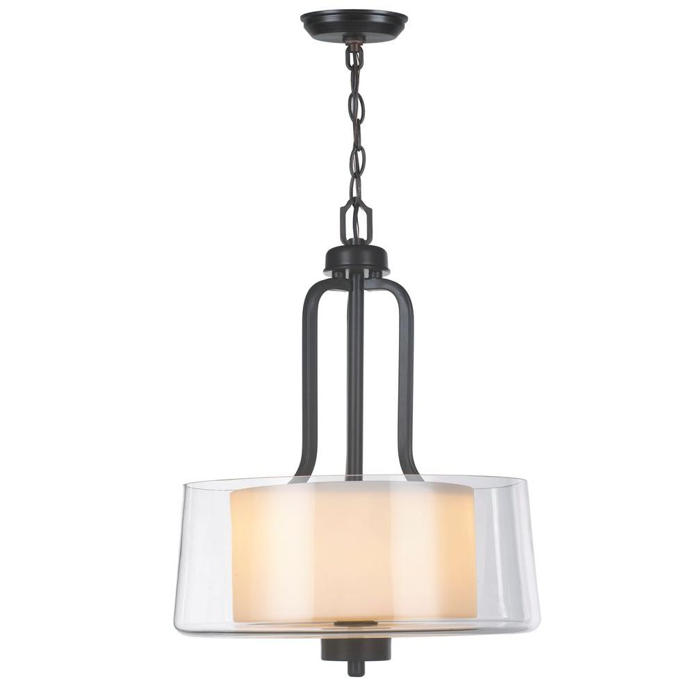 2-Light Oil-Rubbed Bronze Pendant with Glass Shade