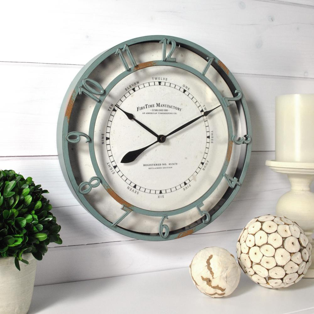11 in. Timeworn Aqua Wall Clock