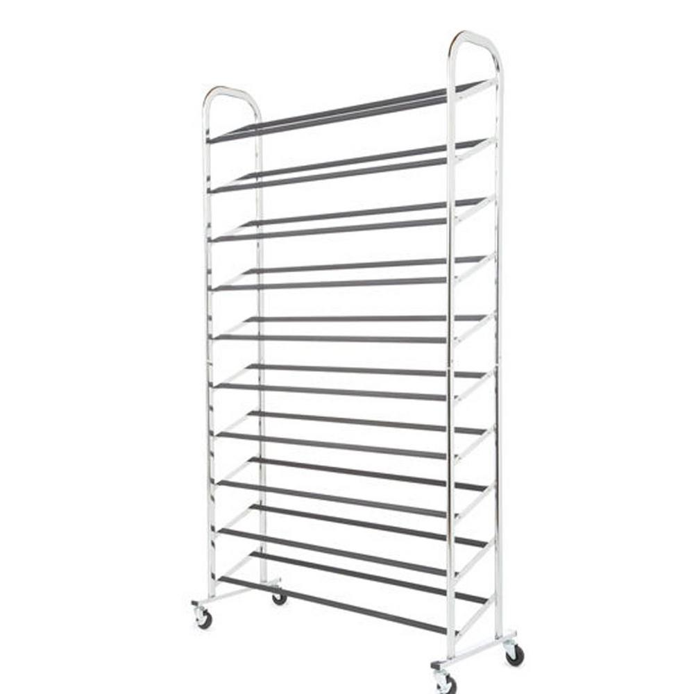 North Sunshine 50-Pair 10 Tier Shoe Organizer Rack Storage in Chorme With Wheels, Grey A chrome shoe tower capable of holding up to 50 pair of shoes (Depending on shoe size) is the answer to your shoe storage needs. It is easy to assemble and is made of durable chromed metal. It boast 10 tiers of non-slip tubes to hold your shoes and has durable wheels for easy mobility or the bottom rack sits flat on the floor for a stationary unit. Product Features: Chrome Shoe TowerFits up to 50 Pairs of Shoes (Depending on Shoe Size) Easy Assembly 10-Tiers of Tubes Wheels Included 59.5 in. H x 36.5 in. W x 14.63 in. D.