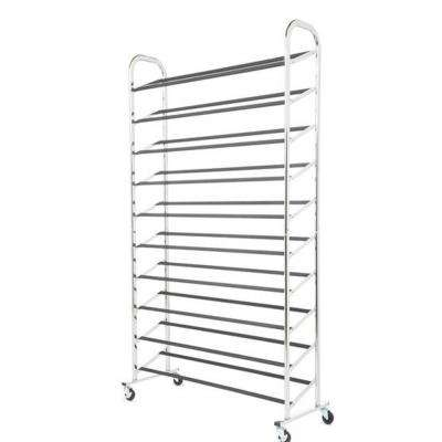 15 in. H x 36 in. W x 59 in. D Deluxe 50-Pair Chrome Shoe Rack Collection