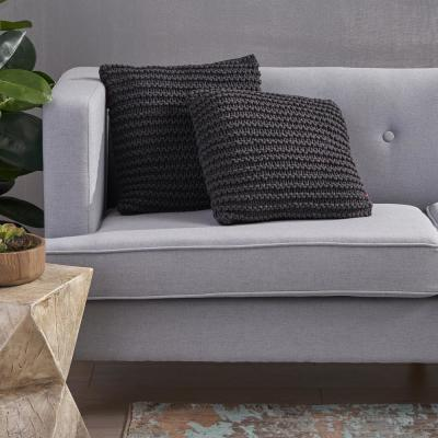 Farlie Dark Gray Solid Cotton 17.25 in. x 6 in. Throw Pillow (Set of 2)