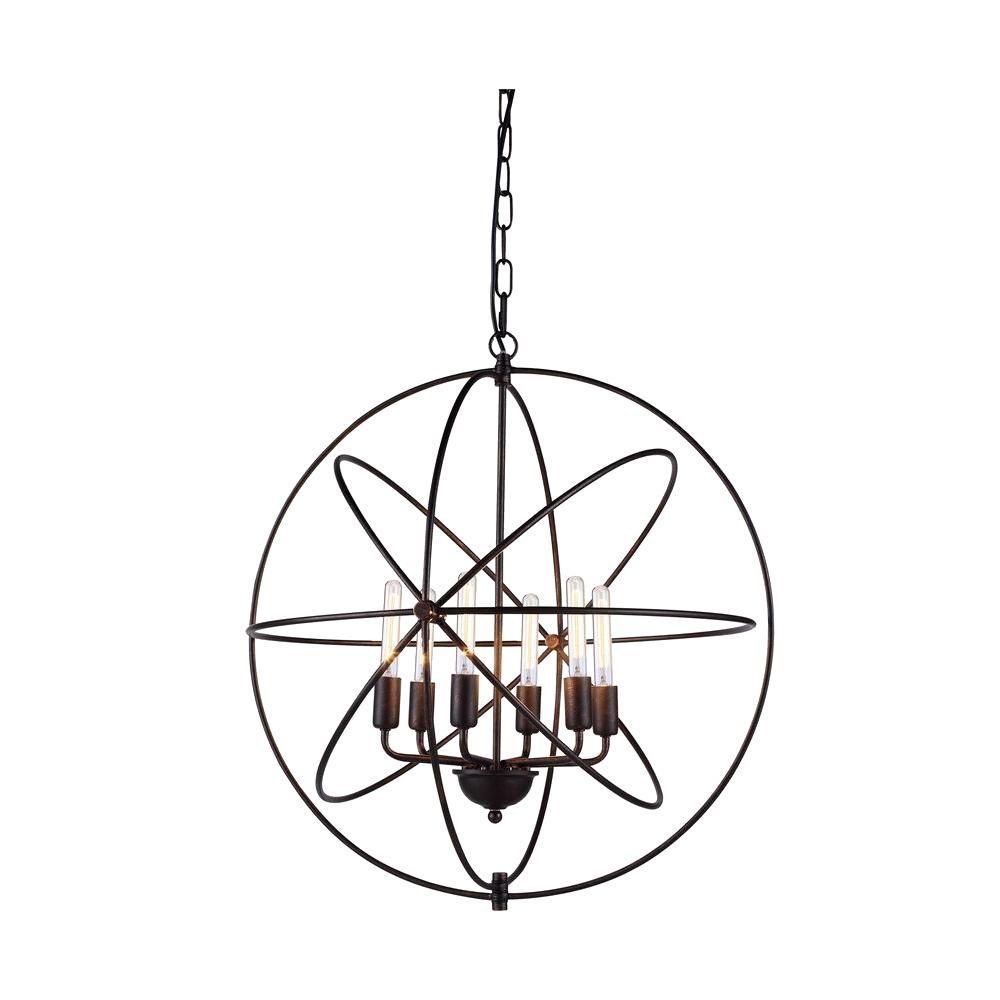 Vienna 6-Light Dark Bronze Pendant Lamp