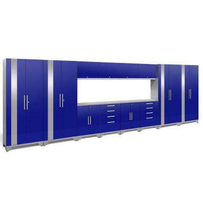 Performance 2.0 72 in. H x 216 in. W x 18 in. D Garage Cabinet Set in Blue (14-Piece)