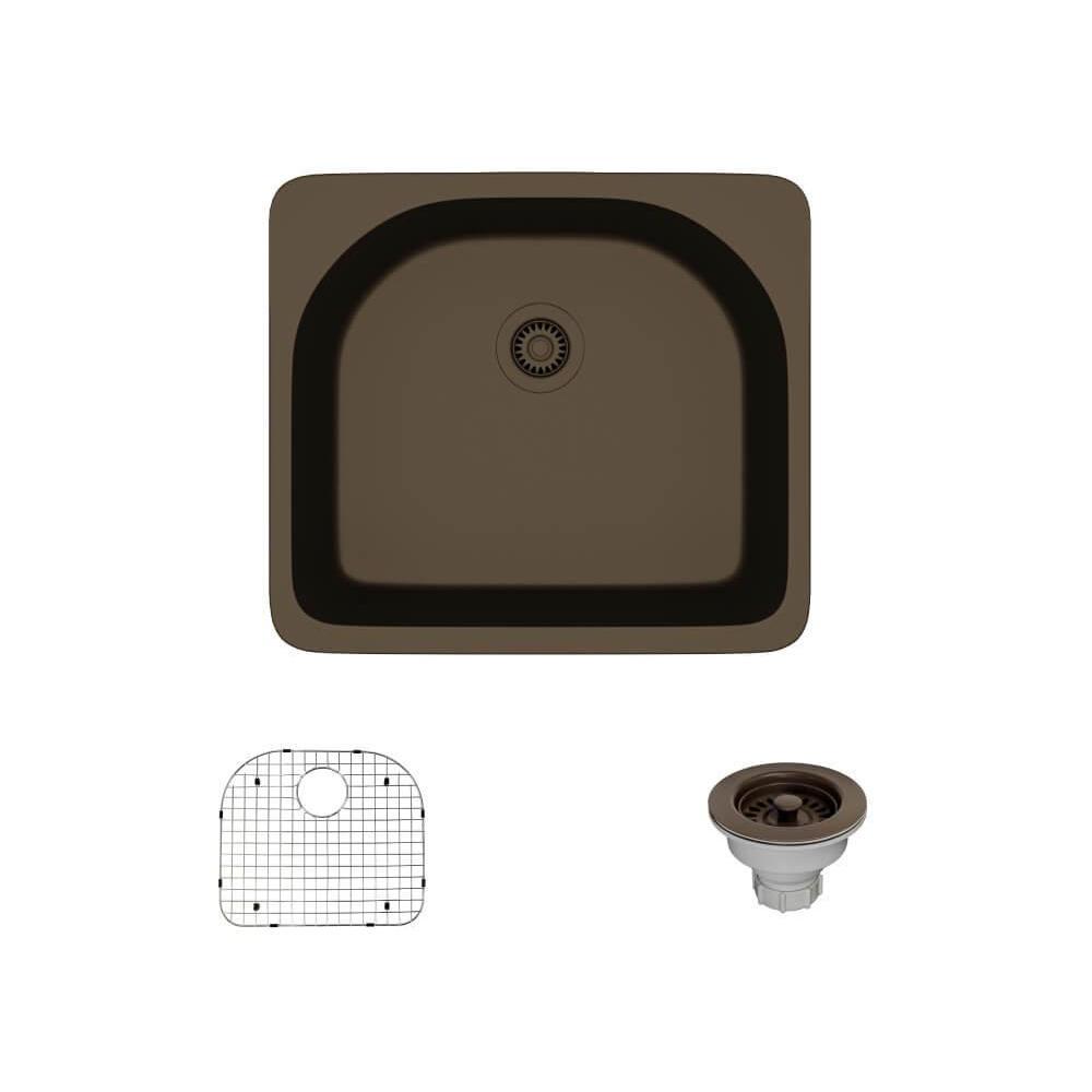 Drop-In Quartz 25 in. Single Basin Kitchen Sink in Umber