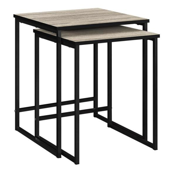 Ameriwood Home Kirkwood 2-Piece Gray Sonoma Oak Nesting End Table HD05305