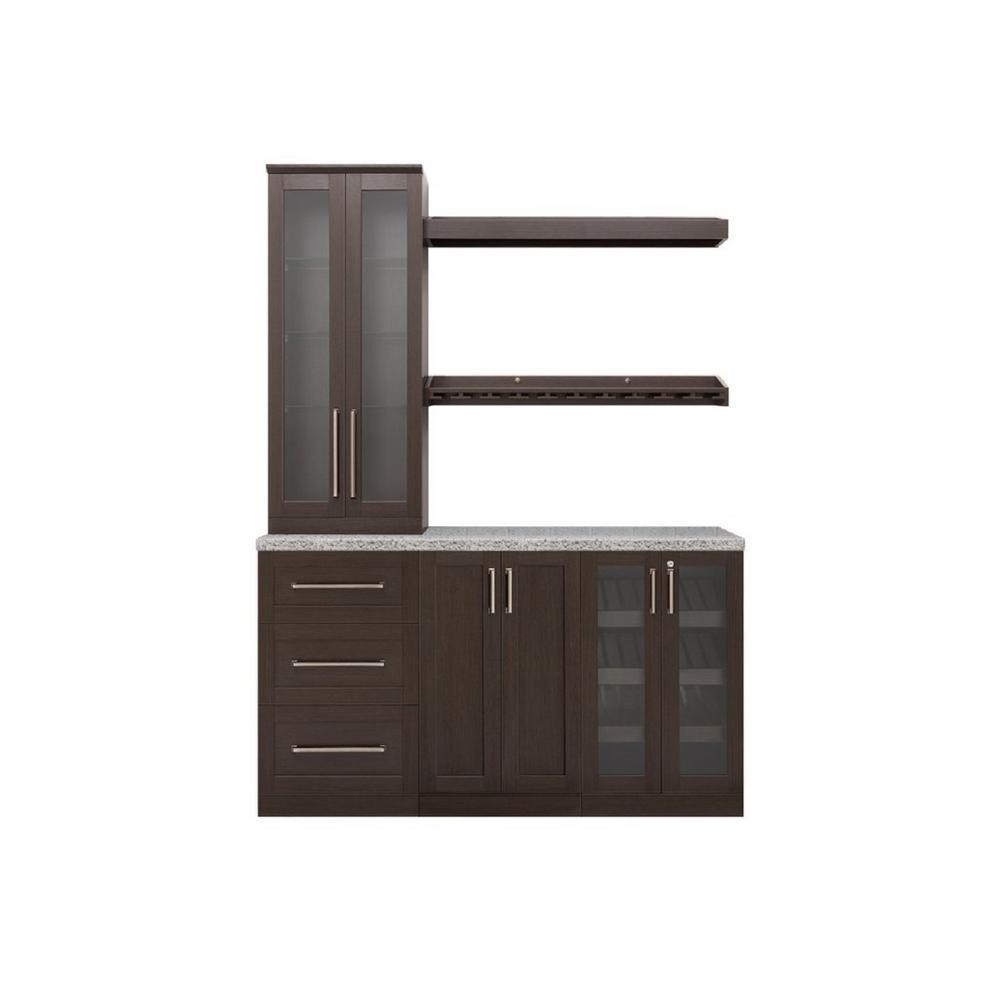 Home Bar Espresso Cabinet Set (7-Piece)