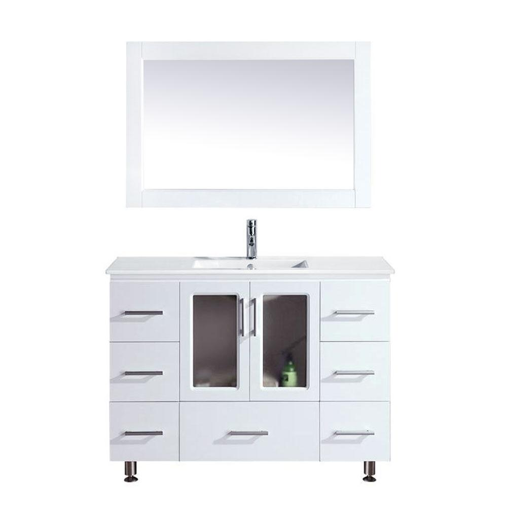 Design Element Stanton 48 In W X 18 In D Single Vanity In White With Porcelain Vanity Top And Mirror In White B48 Ds W The Home Depot