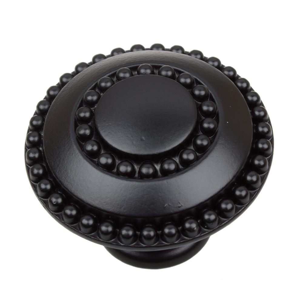 GlideRite 1-3/8 in. Dia Matte Black Round Celtic Medallion Cabinet Knob (10-Pack)