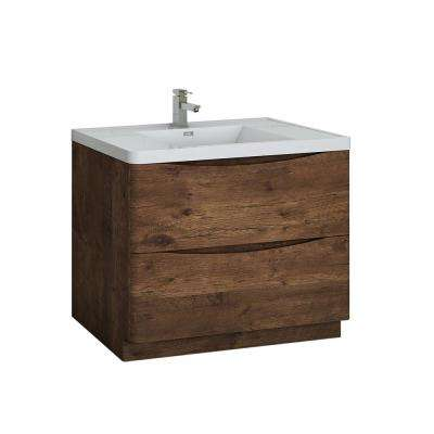 Tuscany 40 in. Modern Bath Vanity in Rosewood with Vanity Top in White with White Basin