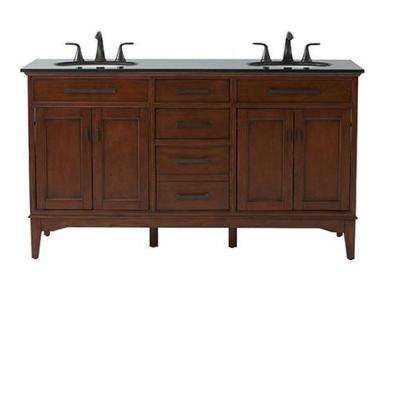 Manor Grove 61 in. Double Vanity in Tobacco with Granite Vanity Top in Black with White Sink