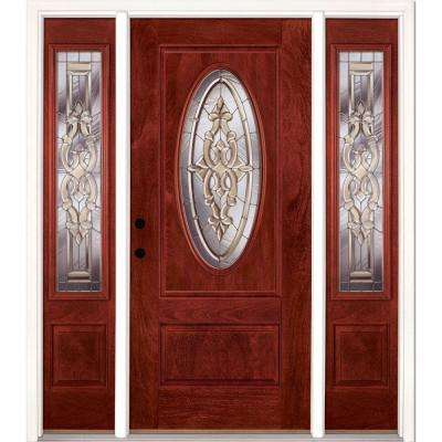 67.5 in.x81.625in.Silverdale Zinc 3/4 Oval Lt Stained Cherry Mahogany Rt-Hd Fiberglass Prehung Front Door w/ Sidelites