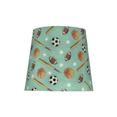 9 in. x 8 in. Blue and Sports Pattern Hardback Empire Lamp Shade