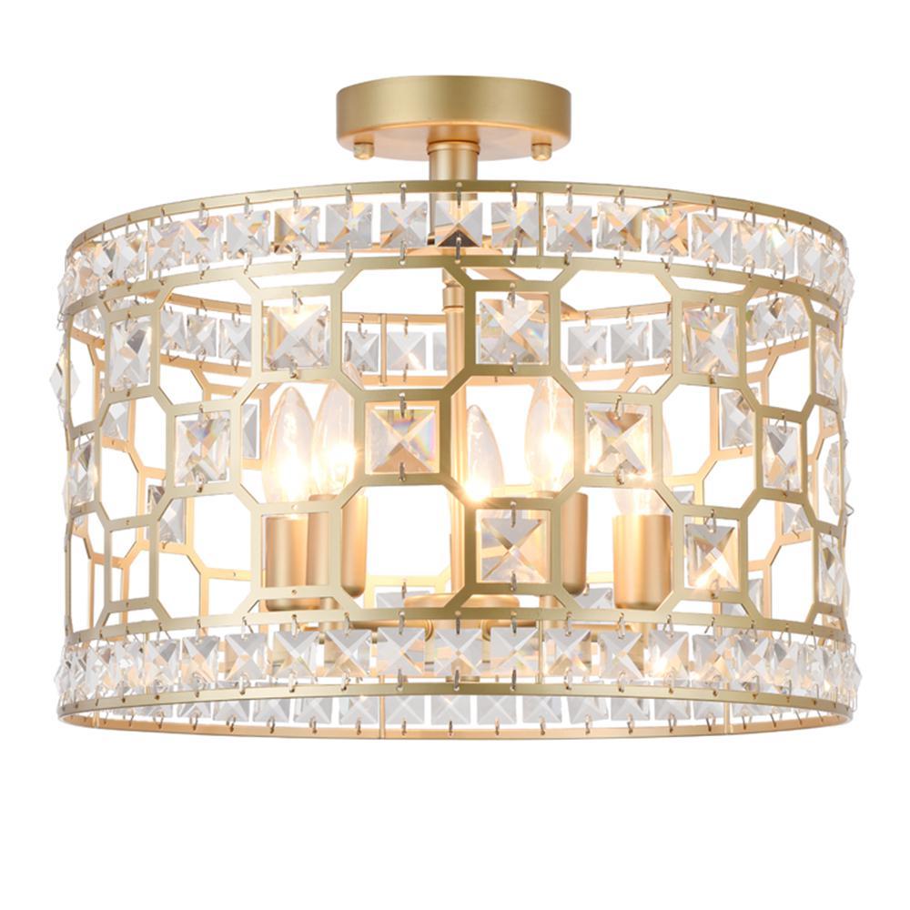 Warehouse of Tiffany Kondik 5-Light Gold Semi-Flushmount