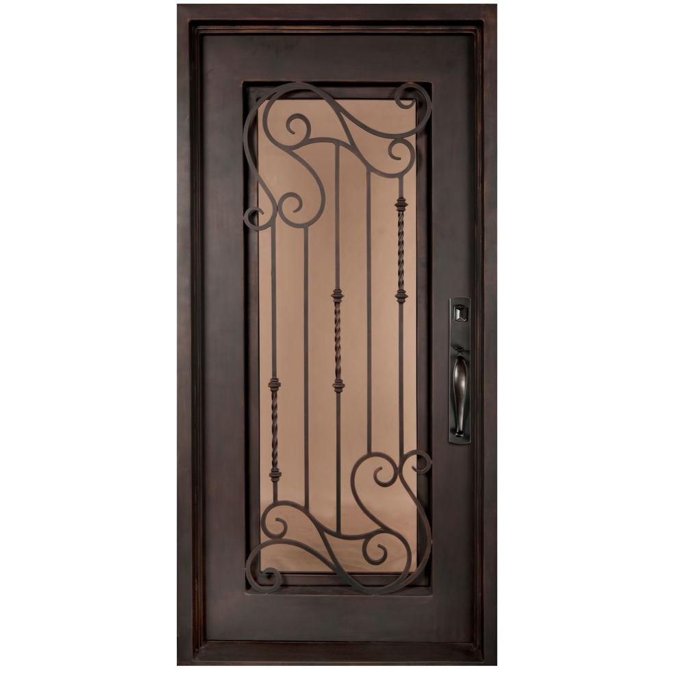 Iron doors unlimited 375 in x 815 in armonia classic full lite iron doors unlimited 375 in x 815 in armonia classic full lite painted oil rubbed bronze wrought iron prehung front door ia3781lslw the home depot rubansaba
