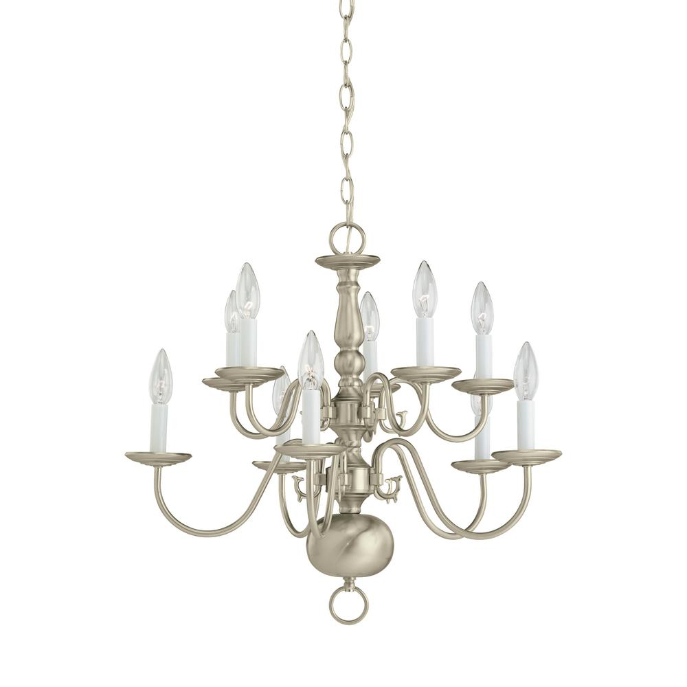 Sea Gull Lighting Traditional 10 Light Brushed Nickel Chandelier With Dimmable Candelabra Led Bulb