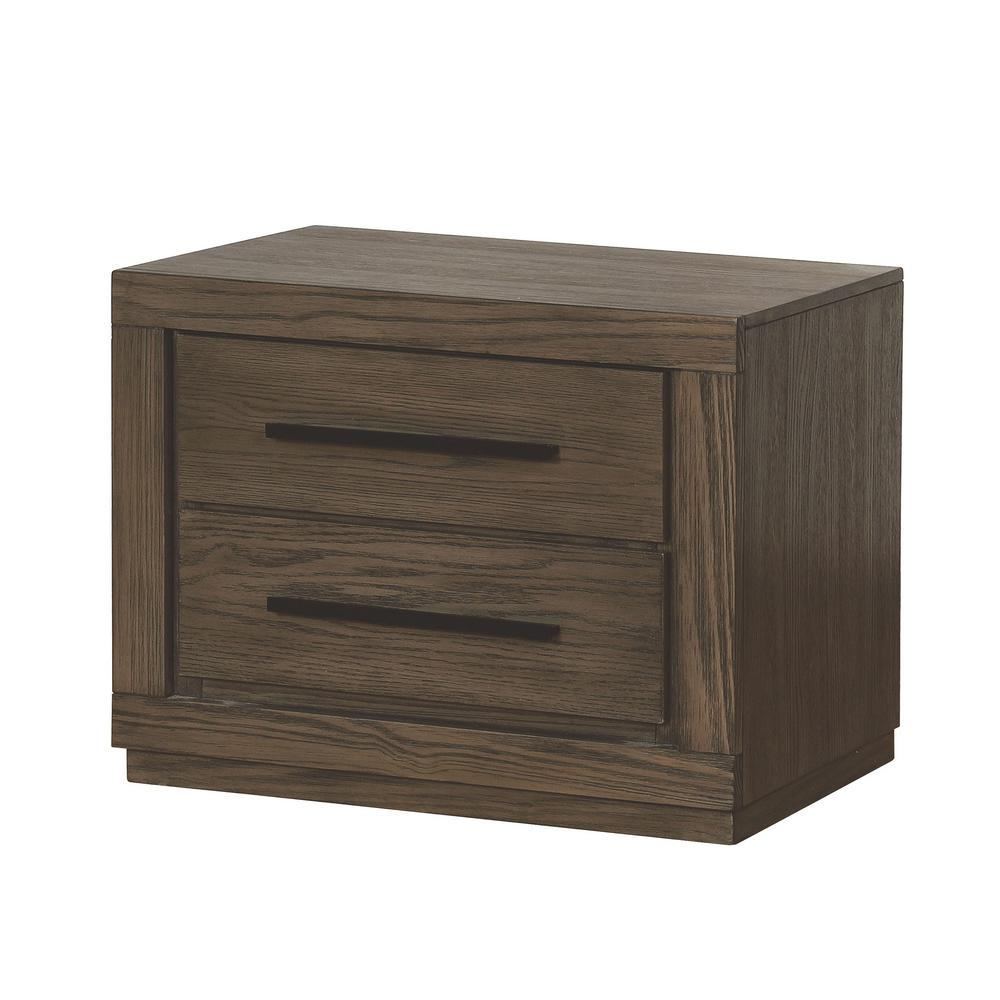 Jensen 2-Drawer Weathered Warm Gray Nightstand