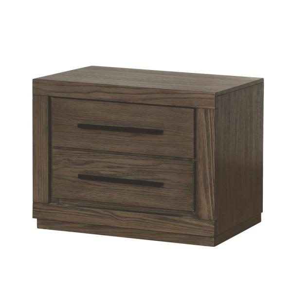 Furniture of America Jensen 2-Drawer Weathered Warm Gray Nightstand IDF-7047GY-N