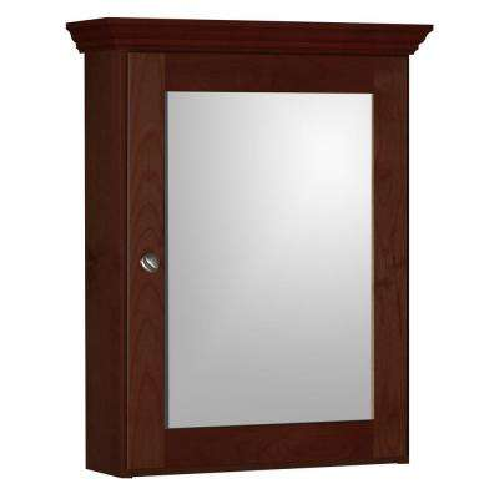 Shaker 19 in. W x 27 in. H x 6-1/2 in. D Framed Surface-Mount Bathroom Medicine Cabinet in Dark Alder
