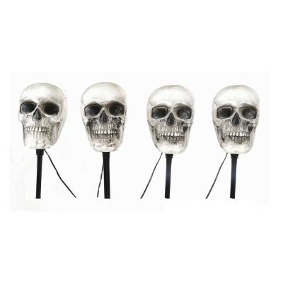 14.5 in. LED Scary Skull Pathway Markers with Timer (4-Pack)