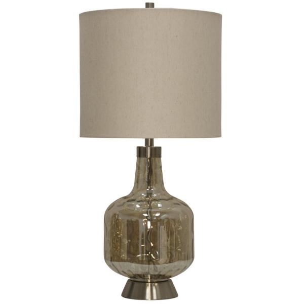 32 in. Majestic Table Lamp with Beige Hardback Fabric Shade
