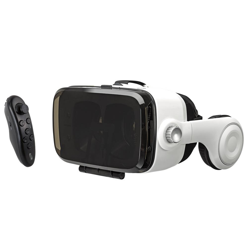 3c5ddb2192da 3D Virtual Reality Headset with Built-In Headphones and Bluetooth Remote
