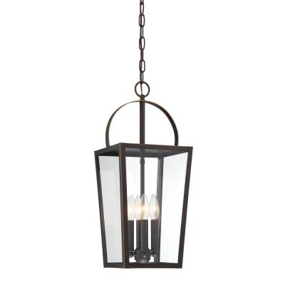 Rangeline 21.75 in. 4-Light Oil Rubbed Bronze with Gold Highlights Outdoor Pendant Light