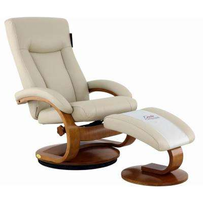Hamilton Beige Air Leather Recliner with Ottoman