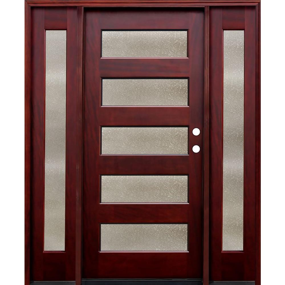 Pacific Entries 70 in. x 80 in. Contemporary 5 Lite Seedy Stained Mahogany Wood Prehung Front Door with 14 in. Sidelites