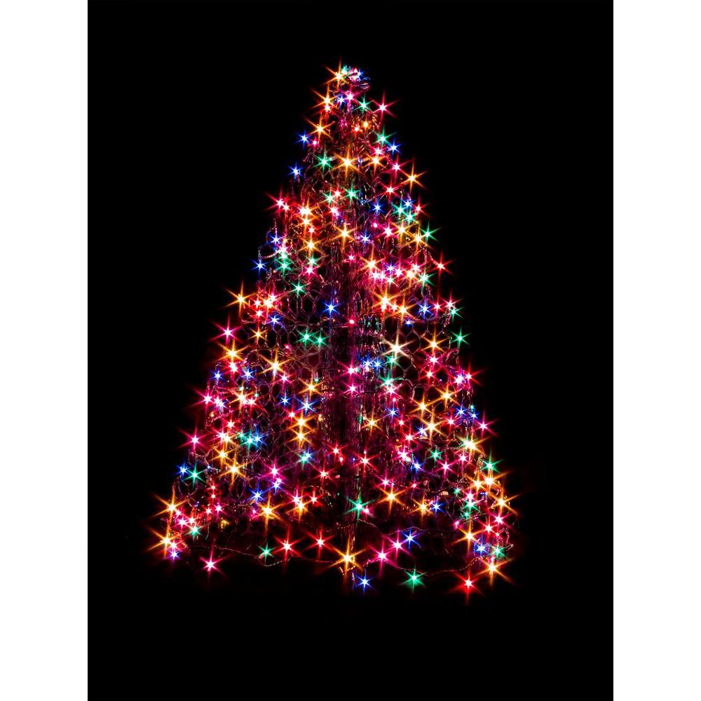 Crab Pot Trees 4 ft. Indoor/Outdoor Pre-Lit Incandescent Artificial Christmas Tree with Green ...
