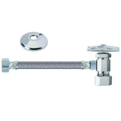 Faucet Kit: 1/2 in. Nom Comp x 3/8 in. O.D. Comp Multi-Turn Angle Valve with 20 in. Braided Connector and Flange
