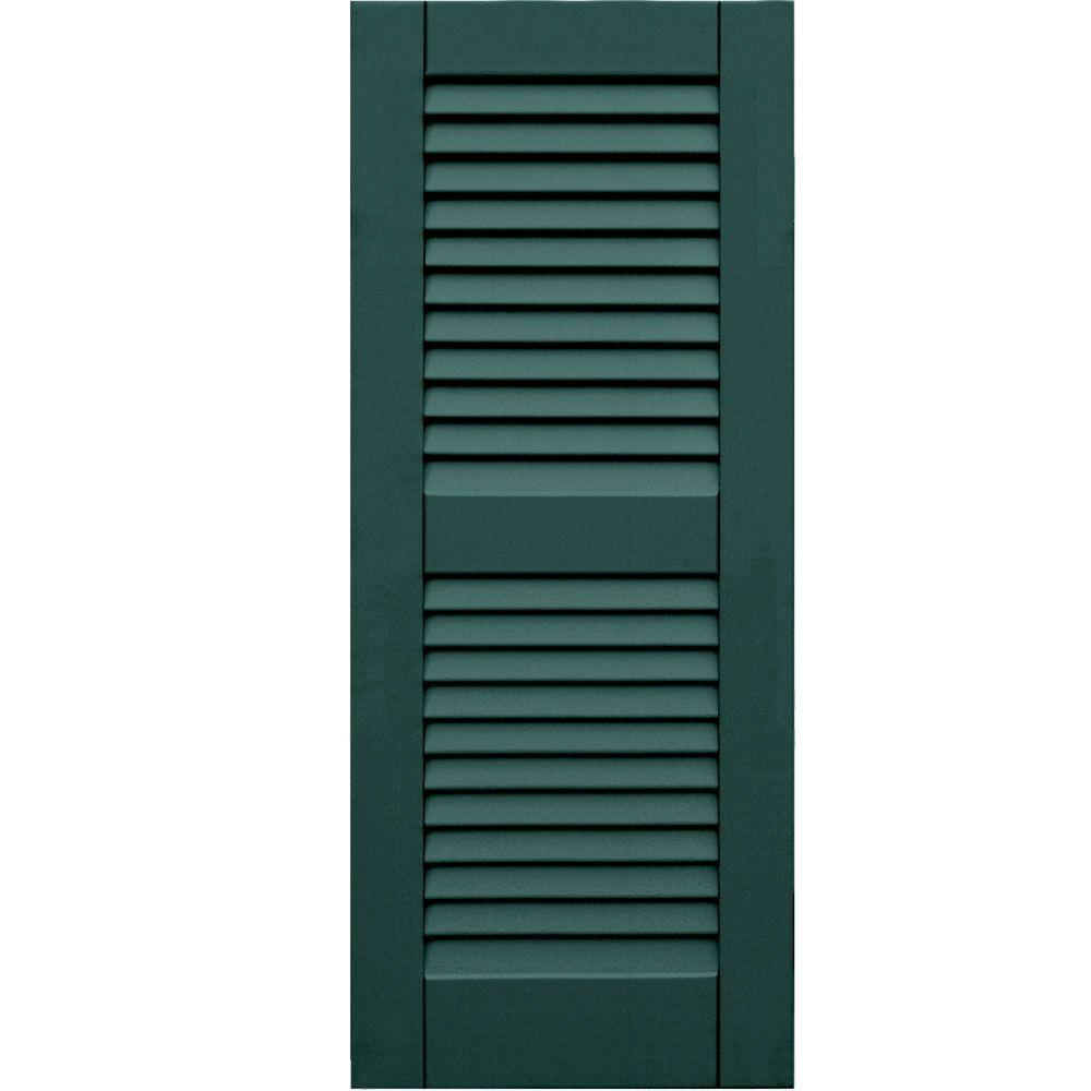 Winworks Wood Composite 15 in. x 37 in. Louvered Shutters Pair #633 Forest Green