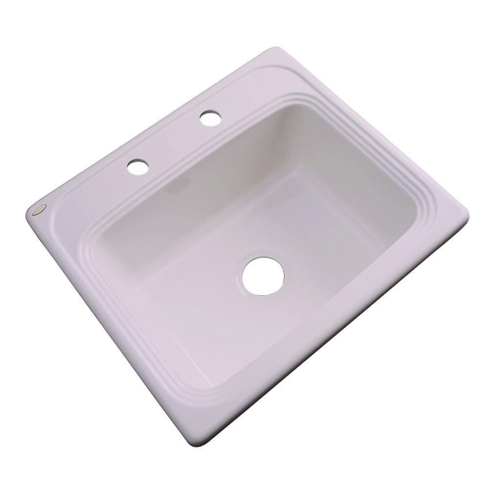 Wellington Drop-In Acrylic 25 in. 2-Hole Single Bowl Kitchen Sink in