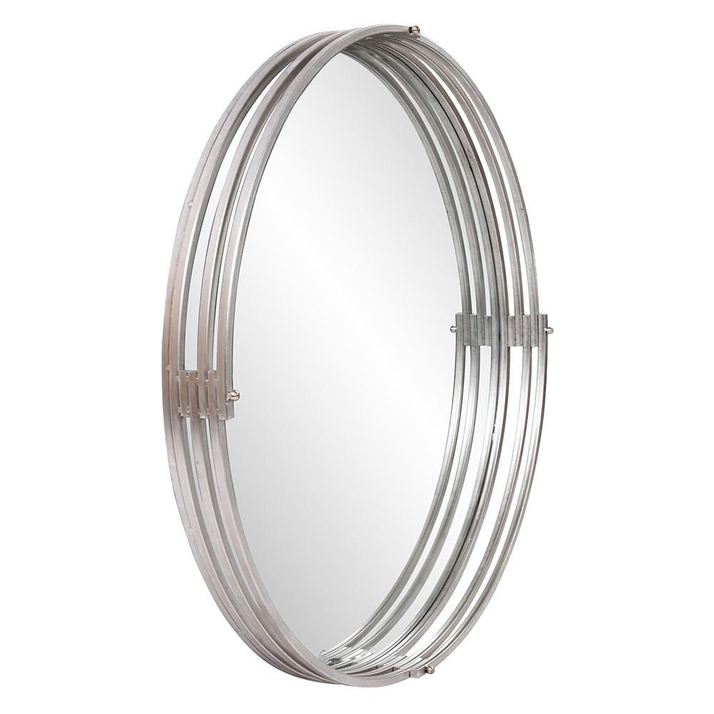 Medium Round Silver Beveled Glass Contemporary Mirror (36 in. H x 36 in. W)