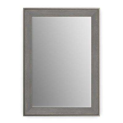 33 in. x 47 in. (L1) Rectangular Framed Mirror with Deluxe Glass and Flush Mount Hardware in Weathered Wood