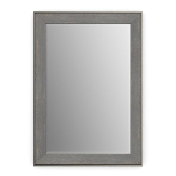 33 in. W x 47 in. H (L1) Framed Rectangular Deluxe Glass Bathroom Vanity Mirror in Weathered Wood